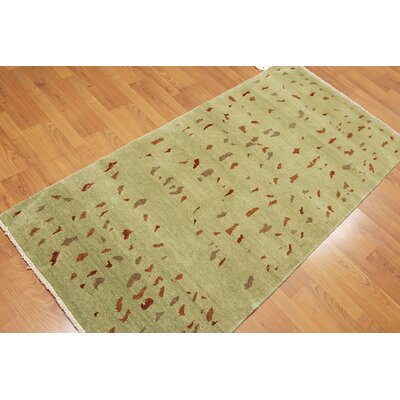 Nordberg One-of-a-Kind Modern Oriental Hand-Knotted Lime Green Area Rug