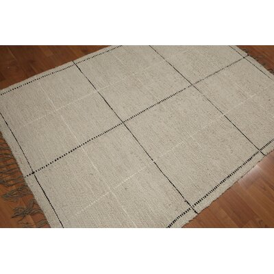 Balham One-of-a-Kind Flat Pile Modern Oriental Hand-Knotted Cotton Beige Area Rug
