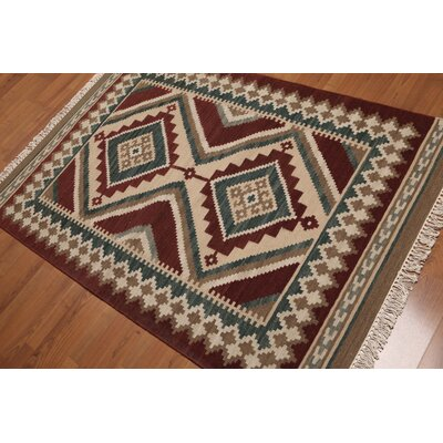 Petterson One-of-a-Kind Dhurry Kilim Reversible Oriental Hand-Woven Wool Maroon Area Rug