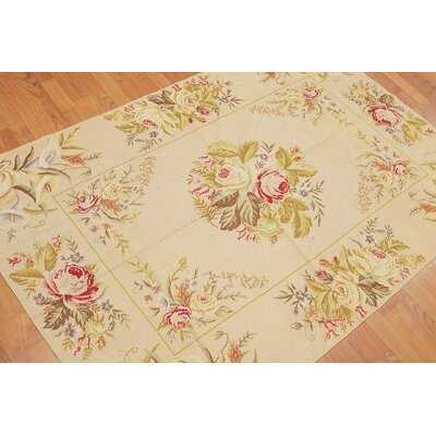 Gertrut One-of-a-Kind Needlepoint Traditional Oriental Hand-Woven Wool Beige Area Rug