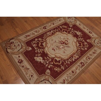 Gaffoor One-of-a-Kind Needlepoint Aubusson Traditional Oriental Hand-Woven Wool Tan Area Rug
