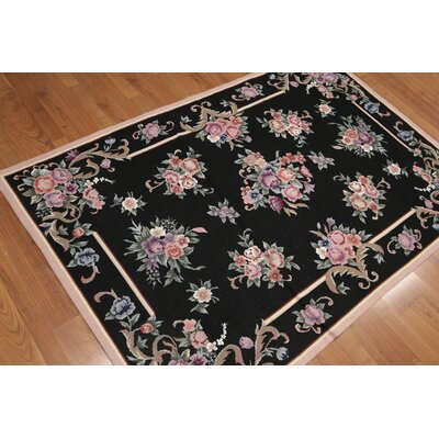 Gaetane One-of-a-Kind Needlepoint Traditional Oriental Hand-Woven Wool Black Area Rug