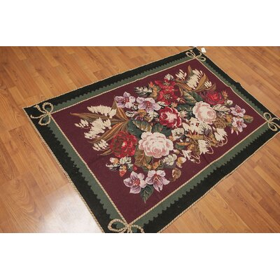 Gerwalt One-of-a-Kind Needlepoint Traditional Oriental Hand-Woven Wool Plum Area Rug