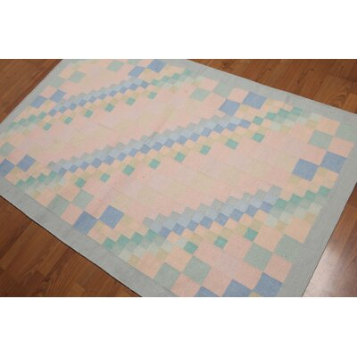 Brank One-of-a-Kind Dhurry Kilim Reversible Modern Oriental Hand-Woven Wool Pink Area Rug