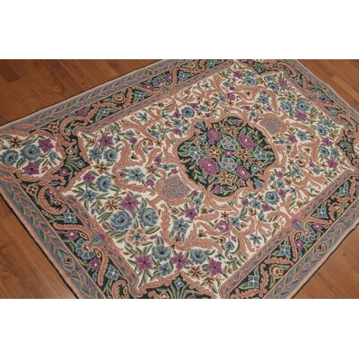Gala One-of-a-Kind Needlepoint Aubusson Traditional Oriental Hand-Woven Wool Beige Area Rug
