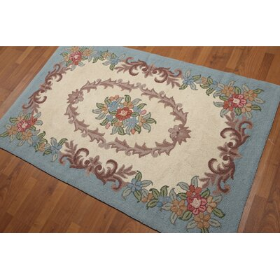 Horwath One-of-a-Kind Aubusson Traditional Oriental Hand-Knotted Wool Beige Area Rug