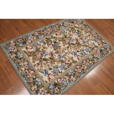 Geron One-of-a-Kind Traditional Oriental Hand-Knotted Wool Beige Area Rug