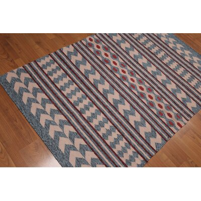 Pettaway One-of-a-Kind Dhurry Kilim Reversible Modern Oriental Hand-Woven Wool Pale Pink Area Rug