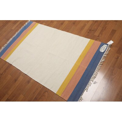 Dolphus One-of-a-Kind Reversible Modern Oriental Hand-Woven Cotton Beige Area Rug