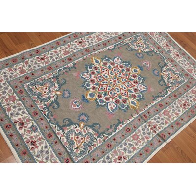 Gaetano One-of-a-Kind Needlepoint Aubusson Traditional Oriental Hand-Woven Wool Gray Area Rug