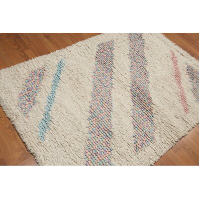 Cazeault One-of-a-Kind Modern Oriental Hand-Knotted Wool Beige Area Rug