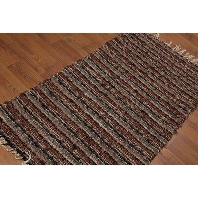 Wathen One-of-a-Kind Reversible Flatweave Modern Oriental Hand-Woven Wool Brown Area Rug