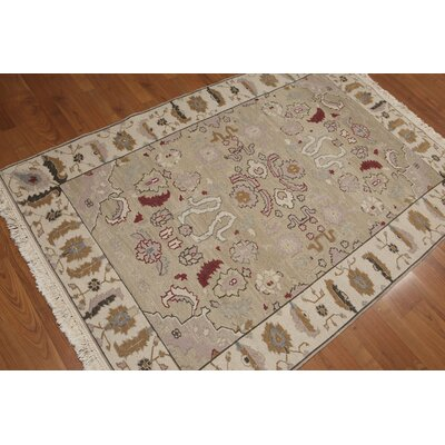 Halette One-of-a-Kind Traditional Oriental Hand-Knotted Wool Beige Area Rug