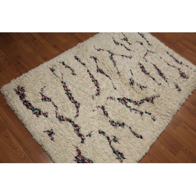 Greeley One-of-a-Kind Pile Modern Oriental Hand-Knotted Wool Beige Area Rug