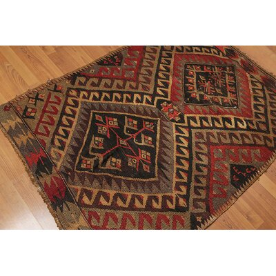 Prosperie One-of-a-Kind Kilim Traditional Oriental Hand-Woven Wool Black Area Rug