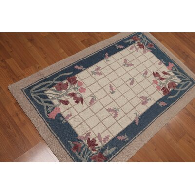 DeBarros One-of-a-Kind Traditional Oriental Hand-Knotted Wool Beige Area Rug