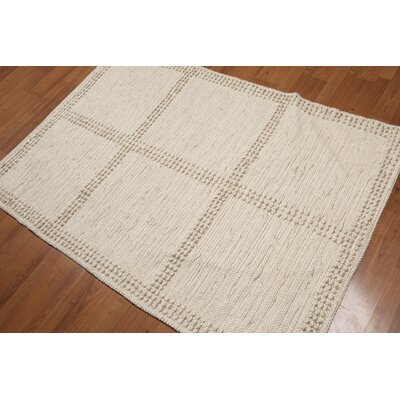 Petrucci Flat Pile Modern Wool Beige Area Rug