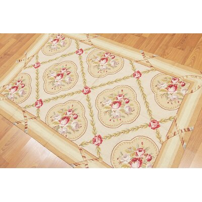 Gertrud One-of-a-Kind Needlepoint Traditional Oriental Hand-Woven Wool Beige Area Rug