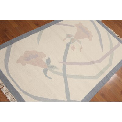 Mulroy One-of-a-Kind Dhurry Kilim Reversible Transitional Oriental Hand-Woven Wool Ivory Area Rug