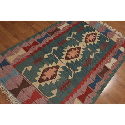 Quiles One-of-a-Kind Kilim Dhurry Modern Oriental Hand-Knotted Wool Green Area Rug