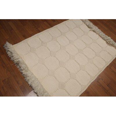 Valladres Flat Pile Wool Ivory Area Rug