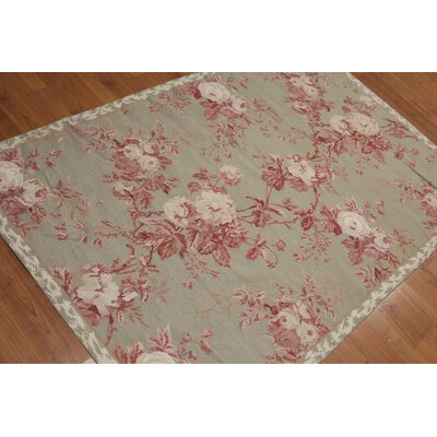 Hanrietta One-of-a-Kind Needlepoint Traditional Oriental Hand-Woven Wool Tan Area Rug