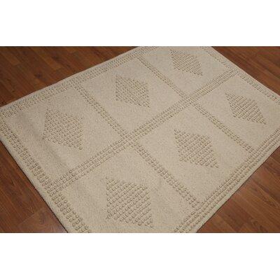 Petry Flat Pile Modern Oriental Wool Beige Area Rug