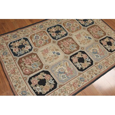 Hanriette One-of-a-Kind Stitch Traditional Oriental Hand-Knotted Wool Tan Area Rug