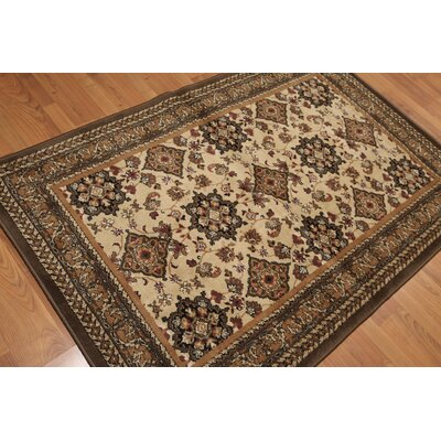 Gaetana Persian Traditional Oriental Wool Tan Area Rug