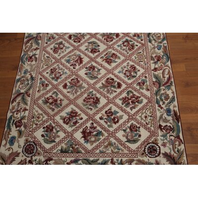 Harbin One-of-a-Kind Needlepoint Traditional Oriental Hand-Woven Wool Beige Area Rug
