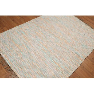 Quillen One-of-a-Kind Flat Pile Modern Oriental Hand-Woven Cotton Burnt Orange Area Rug