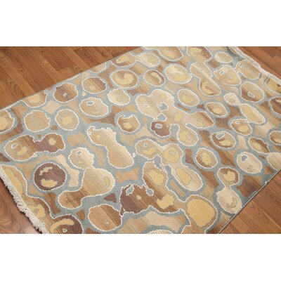 Adorian One-of-a-Kind Contemporary Oriental Hand-Knotted Wool Aqua Area Rug