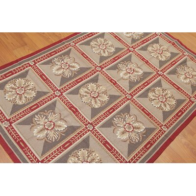Ghislain One-of-a-Kind Needlepoint Traditional Oriental Hand-Woven Wool Burgundy Area Rug