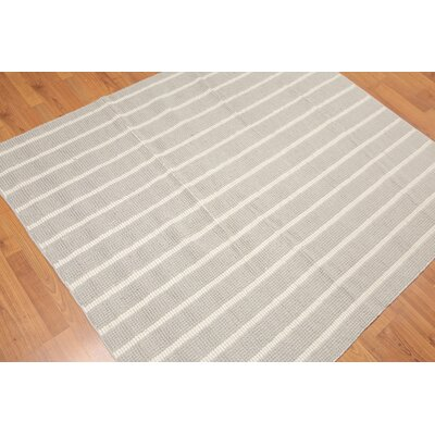 Domaingue One-of-a-Kind Thick Pile Dhurry Modern Oriental Hand-Woven Wool Gray Area Rug