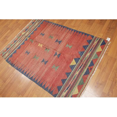Petties One-of-a-Kind Kilim Traditional Oriental Hand-Woven Wool Rust Area Rug