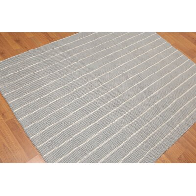 Dominico One-of-a-Kind Thick Pile Dhurry Modern Oriental Hand-Woven Wool Gray Area Rug