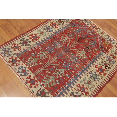 Westrick One-of-a-Kind Kilim Traditional Oriental Hand-Woven Wool Rust Area Rug