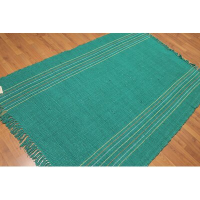 Dilillo One-of-a-Kind Reversible Modern Oriental Hand-Woven Cotton Emerald Area Rug