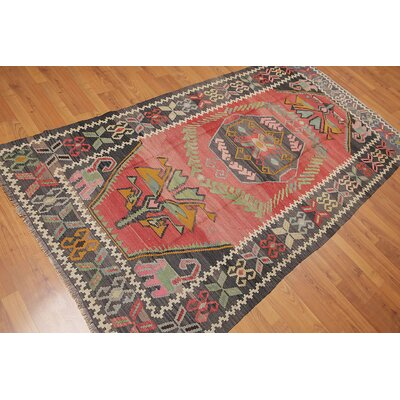 Pettiford One-of-a-Kind Kilim Traditional Oriental Hand-Woven Wool Rust Area Rug