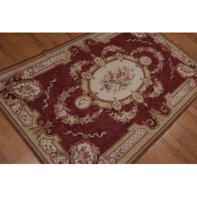 Gilfillan One-of-a-Kind Needlepoint Aubusson Traditional Oriental Hand-Woven Wool Burgundy Area Rug