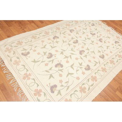 Garbo One-of-a-Kind Reversible Modern Oriental Hand-Woven Wool Ivory Area Rug