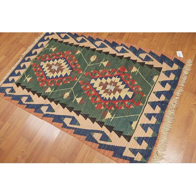 Pettitt One-of-a-Kind Kilim Traditional Oriental Hand-Woven Wool Green Area Rug