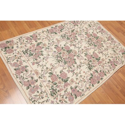 Ghita One-of-a-Kind Needlepoint Traditional Oriental Hand-Woven Wool Ivory Area Rug
