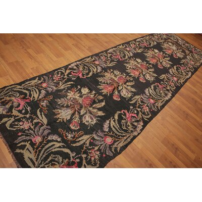 Galatee One-of-a-Kind Kilim Traditional Oriental Hand-Woven Wool Charcoal Area Rug