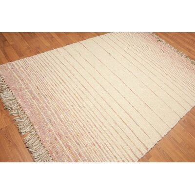 Wasserman One-of-a-Kind Thick Pile Dhurry Modern Oriental Hand-Woven Wool Beige Area Rug