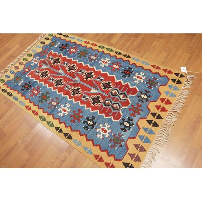 Pettry One-of-a-Kind Kilim Traditional Oriental Hand-Woven Wool Rust Area Rug