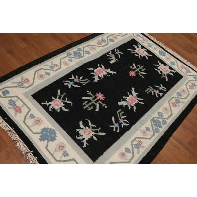 Gilles One-of-a-Kind Dhurry Kilim Reversible Traditional Oriental Hand-Woven Wool Black Area Rug