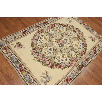 Gilman One-of-a-Kind Needlepoint Aubusson Traditional Oriental Hand-Woven Wool Pale Yellow Area Rug