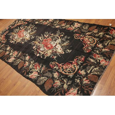 Galiana One-of-a-Kind Kilim Traditional Oriental Hand-Woven Wool Charcoal Area Rug