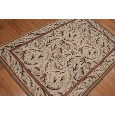 Ginevra One-of-a-Kind Needlepoint Aubusson Transitional Oriental Hand-Woven Wool Tan Area Rug